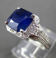 ESTATE 4.10CT DIAMOND & SAPPHIRE 14K WHITE GOLD FILIGREE HEXAGON ENGAGEMENT RING