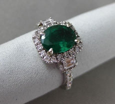 ESTATE 2.81CT DIAMOND & EMERALD 18KT WHITE GOLD MULTI SHAPE HALO ENGAGEMENT RING