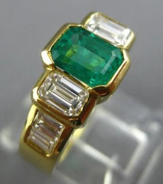 ESTATE 2.50CT DIAMOND & AAA COLOMBIAN EMERALD 18K YELLOW GOLD 3D ENGAGEMENT RING