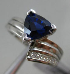 ESTATE 2.14CT DIAMOND SAPPHIRE 18KT WHITE GOLD PRINCESS TRILLOIN ENGAGEMENT RING