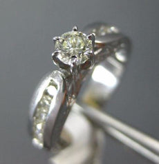 ESTATE .82CT DIAMOND 14KT WHITE GOLD 3D 6 PRONG ROUND FILIGREE ENGAGEMENT RING