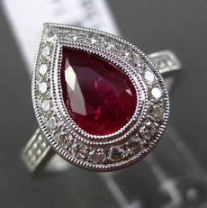 ESTATE 1.54CT DIAMOND & RUBY 14K WHITE GOLD FILIGREE MILGRAIN 3D ENGAGEMENT RING