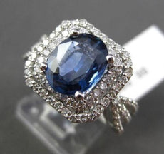 ESTATE 3.03CT DIAMOND & AAA SAPPHIRE 14KT WHITE GOLD HEXAGON ENGAGEMENT RING