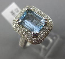 ESTATE 2.56CT DIAMOND & AQAUAMARINE 18K WHITE GOLD FILIGREE HALO ENGAGEMENT RING