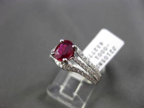 ESTATE WIDE 1.77CT DIAMOND & EXTRA FACET RUBY 18KT WHITE GOLD 3D ENGAGEMENT RING