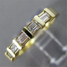 ESTATE .40CT DIAMOND 14K YELLOW GOLD 5 STONE BAGUETTE ANNIVERSARY RING 3mm #6450