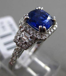 ESTATE 2.36CT DIAMOND & SAPPHIRE 18K WHITE GOLD 3D HALO FILIGREE ENGAGEMENT RING