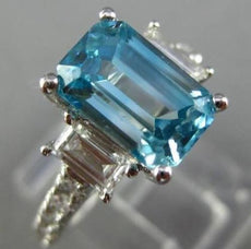 ESTATE 3.93CT DIAMOND & AQUAMARINE 14KT WHITE GOLD 3 STONE ENGAGEMENT RING 12406