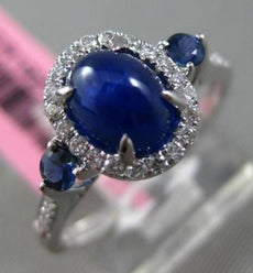 ESTATE 2.36CT DIAMOND & SAPPHIRE 18KT WHITE GOLD 3D 3 STONE OVAL ENGAGEMENT RING