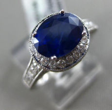 ESTATE 2.71CT DIAMOND & SAPPHIRE 18K WHITE GOLD 3D HALO FILIGREE ENGAGEMENT RING