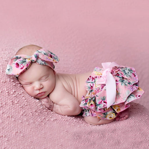 Baby Bloomers and Headband set Newborn Girl Diaper Cover - KiddyLanes