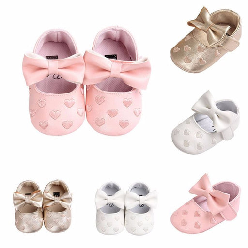 Fashion Toddler Kids Baby Girls Shoes Infant Baby Leather Bowknot Soft Sole Newborn Prewalker Sneakers - KiddyLanes