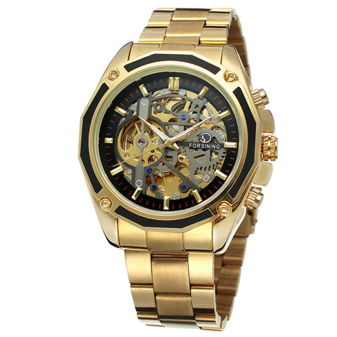 Forsining Steampunk Gold Watches Men Automatic Mechanical