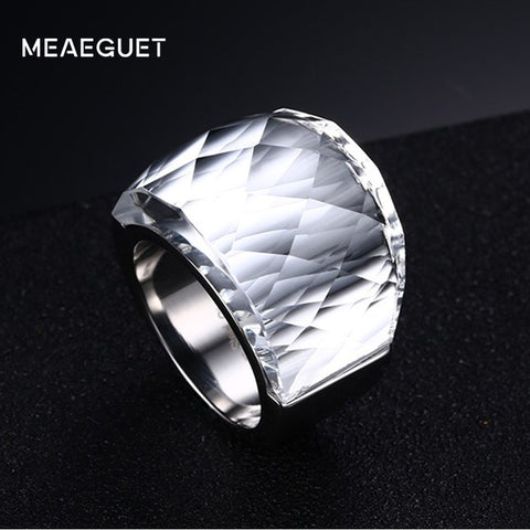 Stainless Steel Large Crystal Stone Wedding Bands