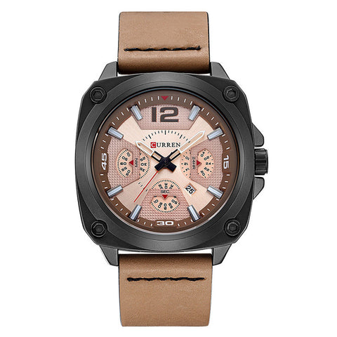 Elector -  Golden  Quartz Men Wrist Watch with Leather