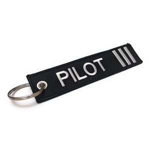 Pilot Keychain | Luggage Tag | 3 Silver Stripes | Aviamart