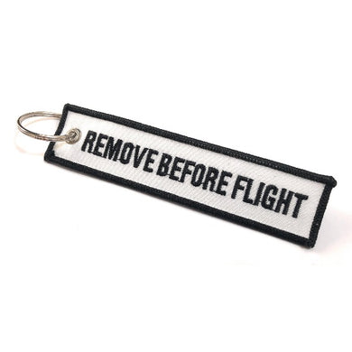 Remove Before Flight Keychain | Luggage Tag | White / Black | Aviamart