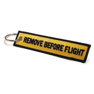 Remove Before Flight Keychain | Luggage Tag | Yellow / Black | Aviamart
