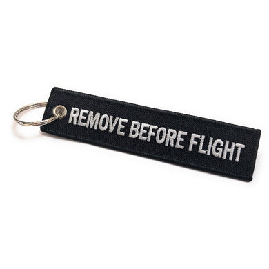 Remove Before Flight Keychain | Luggage Tag | Black / White | Aviamart