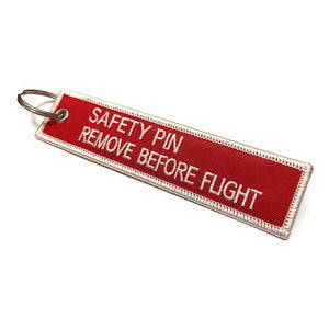 Safety Pin / Remove Before Flight Keychain | Red / White | Aviamart