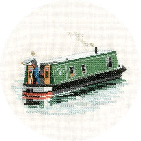 Modern Narrow Boat Cross Stitch Kit by Heritage Crafts