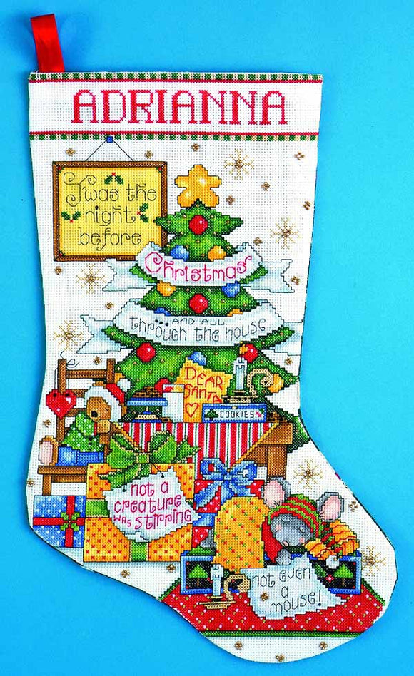 Sleepy Mouse Christmas Stocking Cross Stitch Kit by Design Works