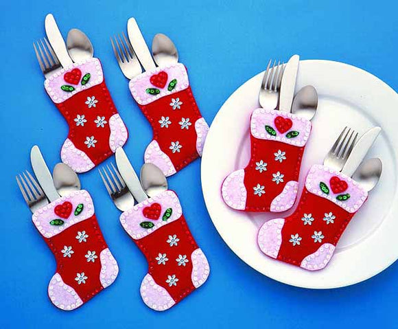 Christmas Stockings Silverware Pockets Felt Applique Kit by Design Works