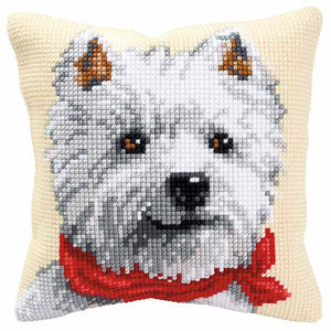 West Highland Terrier Printed Cross Stitch Cushion Kit by Vervaco