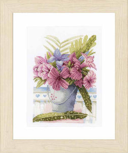 Flowers in Bucket Cross Stitch Kit By Lanarte