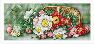 Basket with Peonies Cross Stitch Kit by Luca S