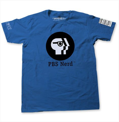 A UNC-TV Blue PBS Nerd T-Shirt