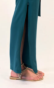 Teal Blue Silk Pants