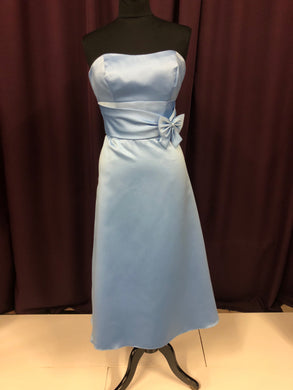 Alfred Angelo Size 12 Blue Bow Strapless Formal Dress