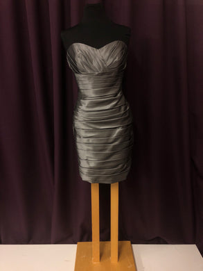 Alfred Angelo Size 12 Gray Rushing  Strapless Short Formal Dress