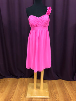 Alfred Angelo Size 12 Pink One Shoulder Flower Short Formal Dress