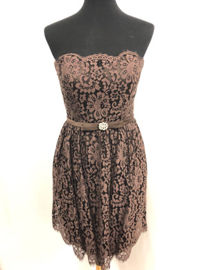 Christina Wu Size 8 Brown Short  Lace  Formal Dress