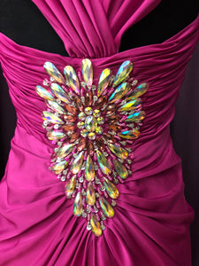 Night Moves Size 8 Pink Bead Gemstone Sequin Formal Dress