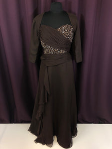 Saison Blanche Size 8 Brown Long Jacket Bead Rushing Formal Dress