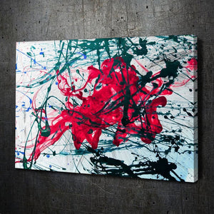 Modern Abstract Painting Pink & Teal Ink on White Texture - Artwork Addict