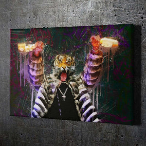 Poppin Bottles Tiger - Framed Canvas Painting Wall Art Office Decor, large modern pop artwork for home or office, Entrepreneur Inspirational and motivational Quotes on Canvas great for man cave or home. Perfect for Artwork Addicts. Made in USA, FREE Shipping.