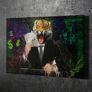 Tiger Money - Framed Canvas Painting Wall Art Office Decor, large modern pop artwork for home or office, Entrepreneur Inspirational and motivational Quotes on Canvas great for man cave or home. Perfect for Artwork Addicts. Made in USA, FREE Shipping.
