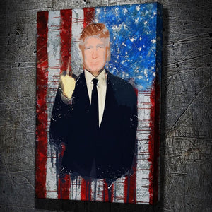 Trump - Fake News - Framed Canvas Painting Wall Art Office Decor, large modern pop artwork for home or office, Entrepreneur Inspirational and motivational Quotes on Canvas great for man cave or home. Perfect for Artwork Addicts. Made in USA, FREE Shipping.