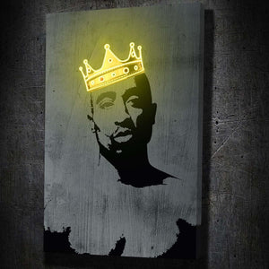 Tupac Neon Crown - Framed Canvas Painting Wall Art Office Decor, large modern pop artwork for home or office, Entrepreneur Inspirational and motivational Quotes on Canvas great for man cave or home. Perfect for Artwork Addicts. Made in USA, FREE Shipping.