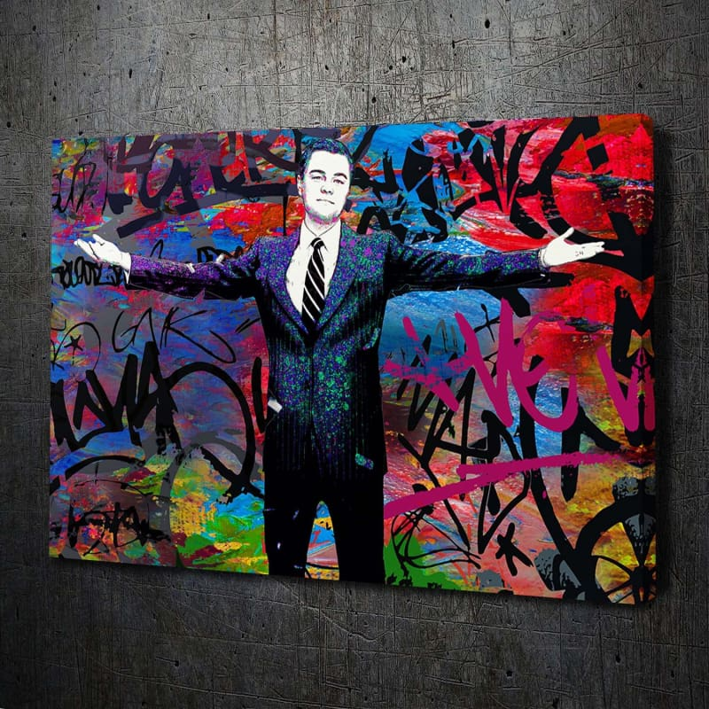 Wolf of Wall Street Welcome Graffiti - Framed Canvas Painting Wall Art Office Decor, large modern pop artwork for home or office, Entrepreneur Inspirational and motivational Quotes on Canvas great for man cave or home. Perfect for Artwork Addicts. Made in USA, FREE Shipping.