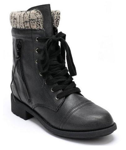 Relax-120 Leatherette Sweater Distress Zipper Military Lace Up Boot - Peazz.com