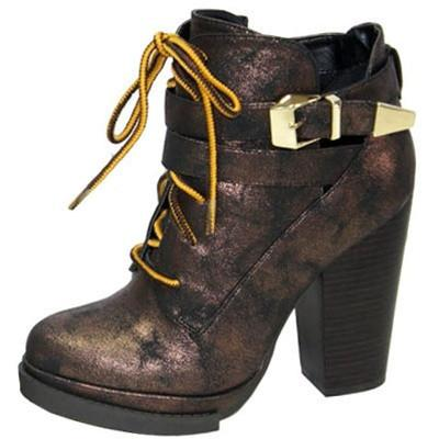Ponder-06 Lace Up Round Toe Ankle Bootie - Peazz.com