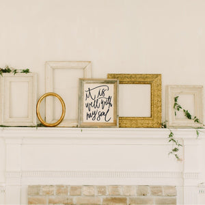 Barnwood Framed Hand-lettered Canvas