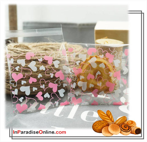 """Heart"" Self Adhesive Cookies Plastic Bags"