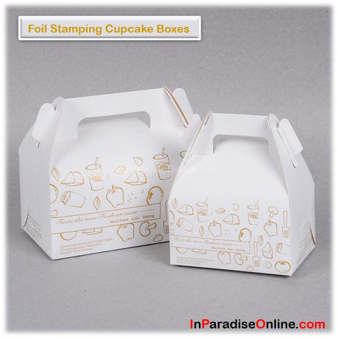 Foil Stamping Cupcake Boxes with Handle