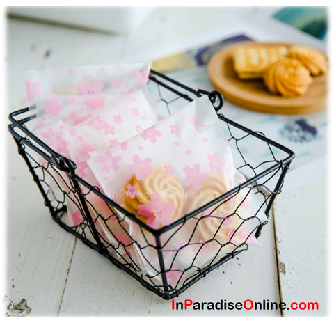 Self Adhesive Pink Flower Cookie Plastic Bag